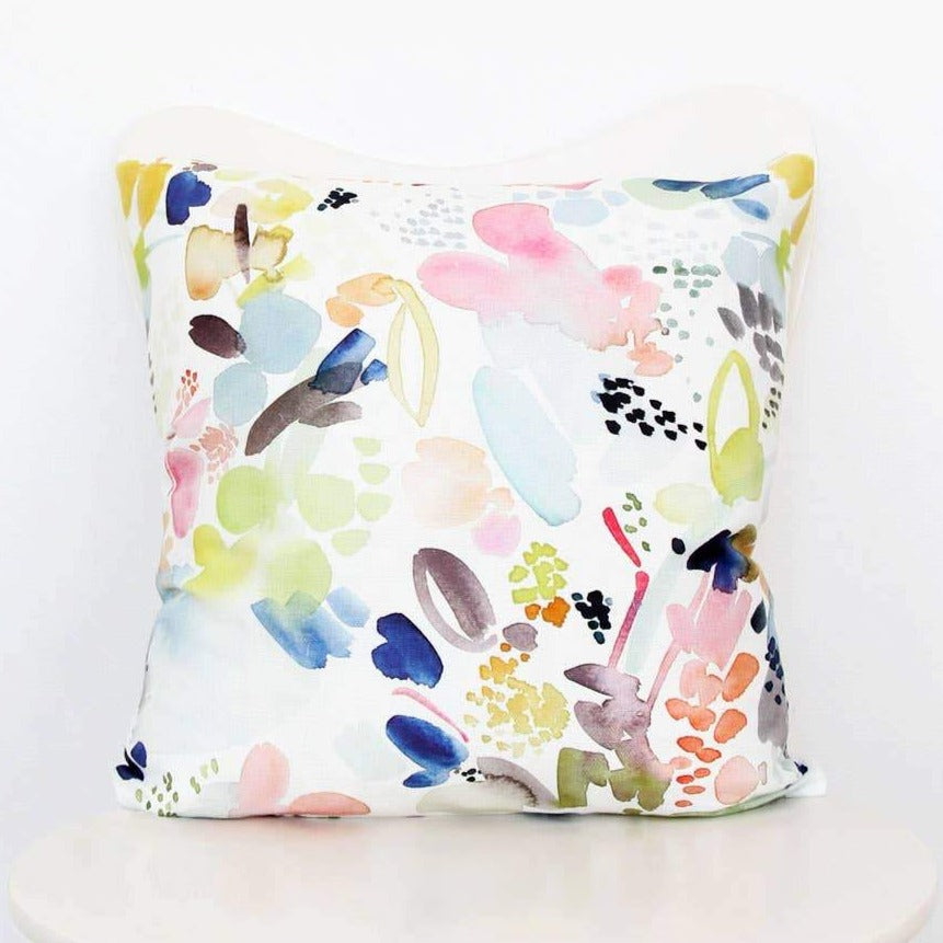 Floral Movement in Orange Throw Pillow Cover