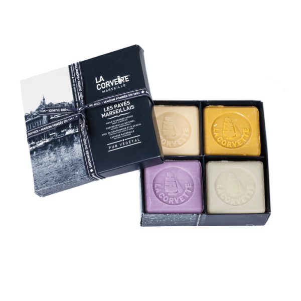 Gift Box of 4 Marseille Square Soaps
