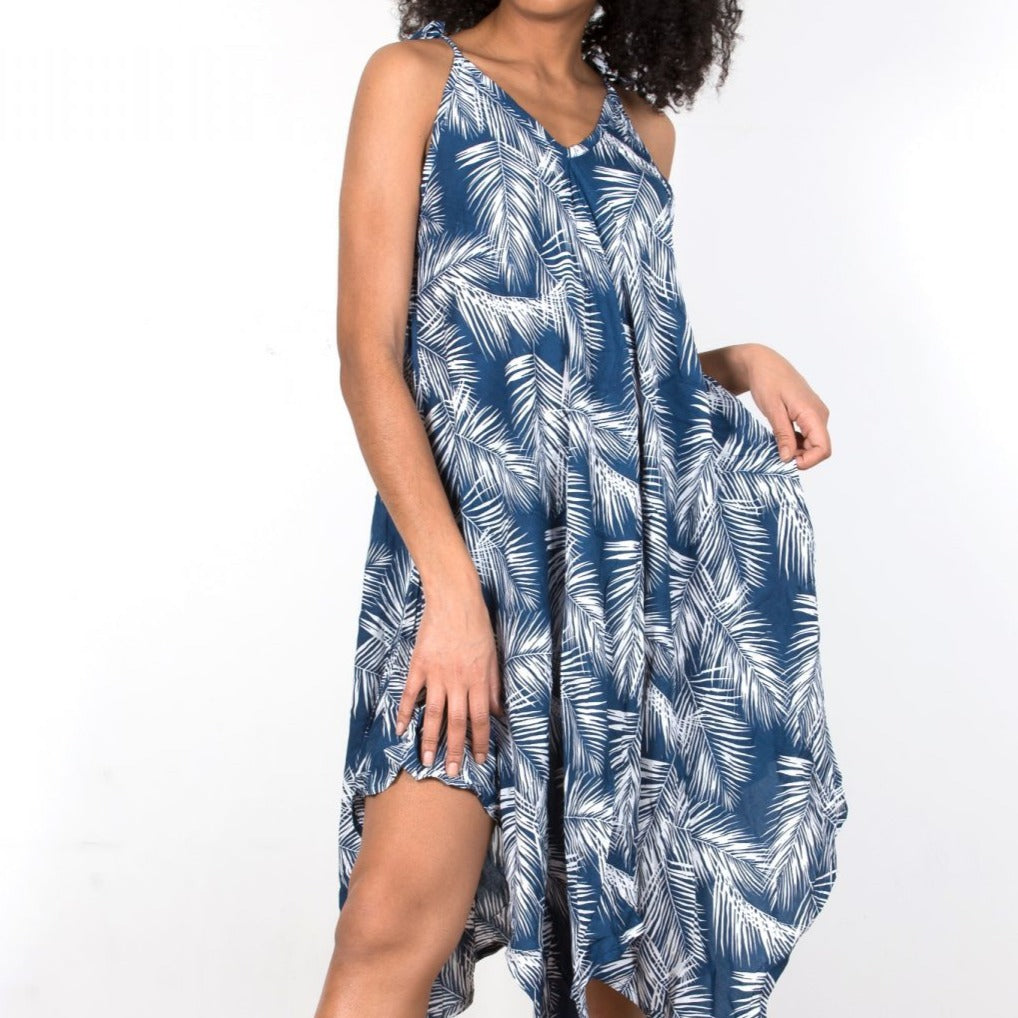 Handkerchief Dress Navy Palms
