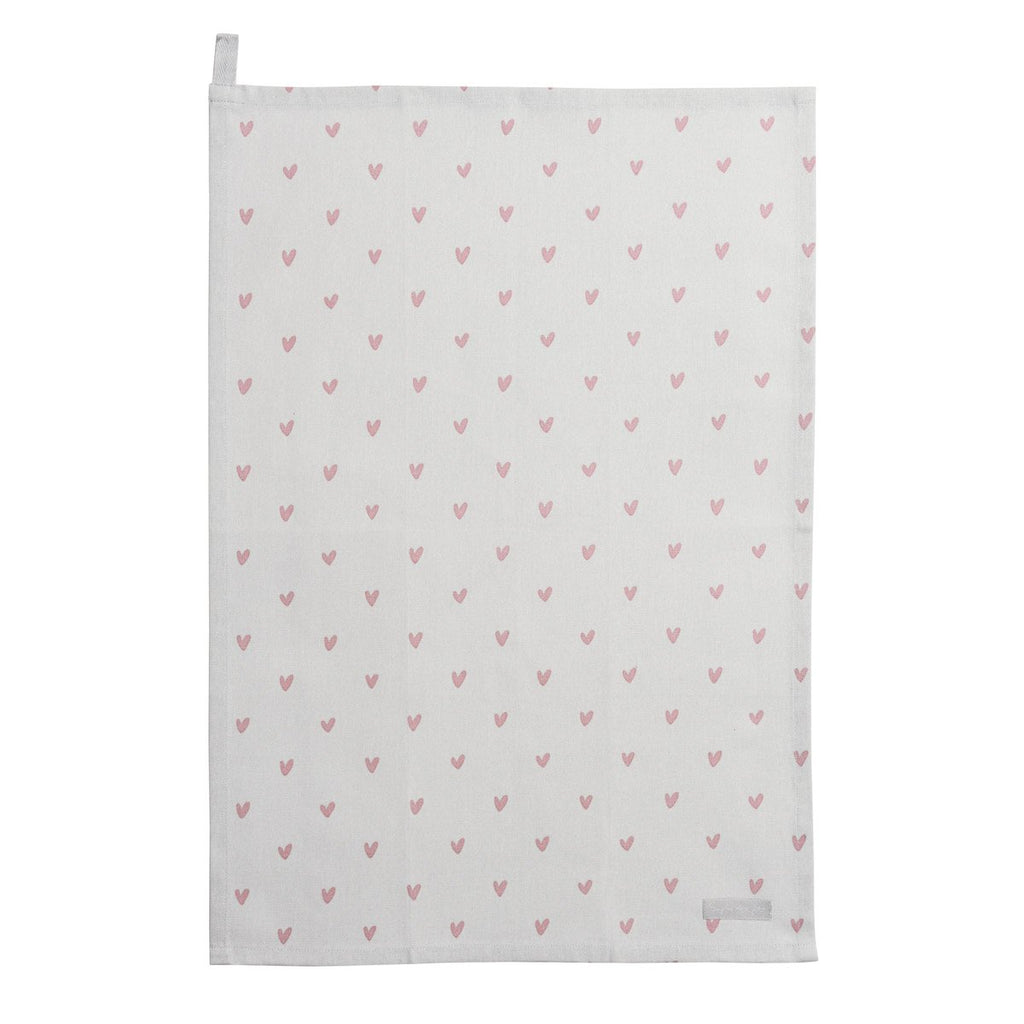 Pink Hearts Tea Towel