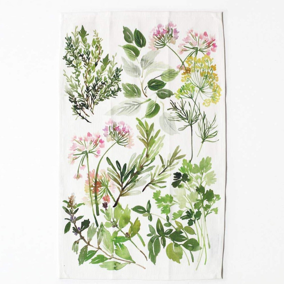 Herb Composition Tea Towel