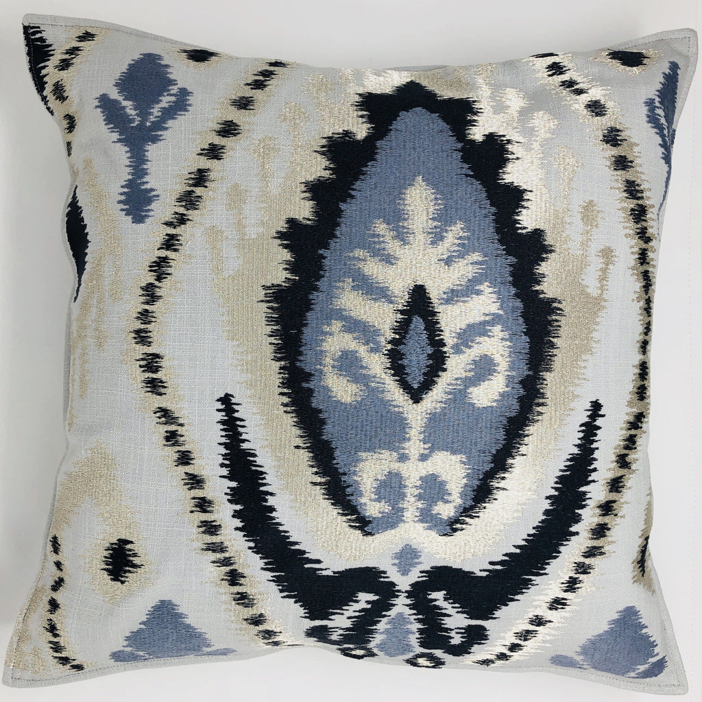 Shimmer Grey Blue IKAT Pillow