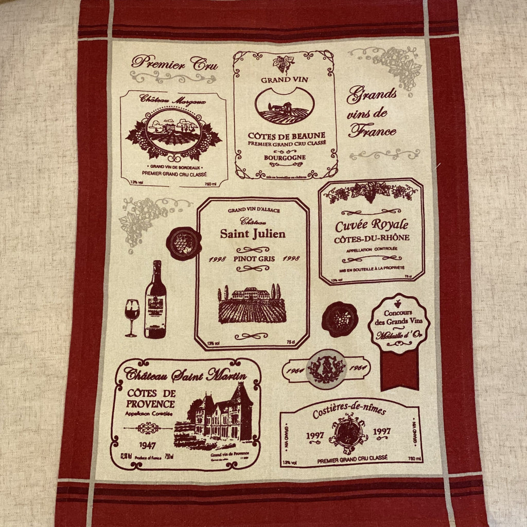 French Wine Tea Towels Set of 3 Sud Etoffe
