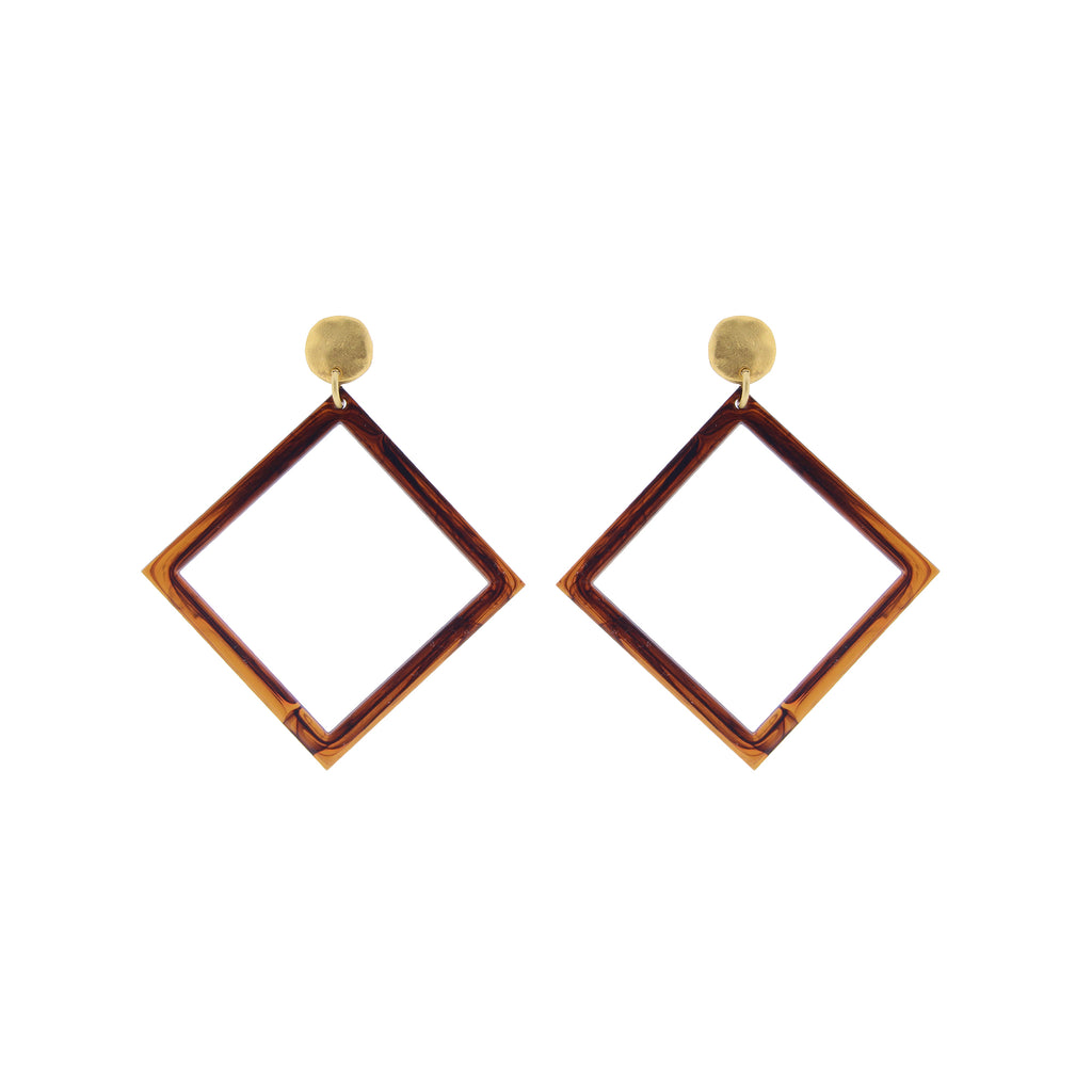 Identity Acrylic Square Earrings Matte Gold and Amber