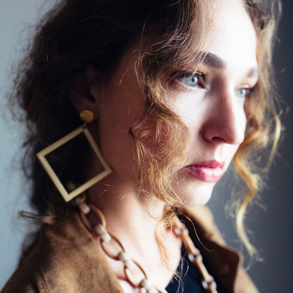 Identity Acrylic Square Earrings Matte Gold and Beige