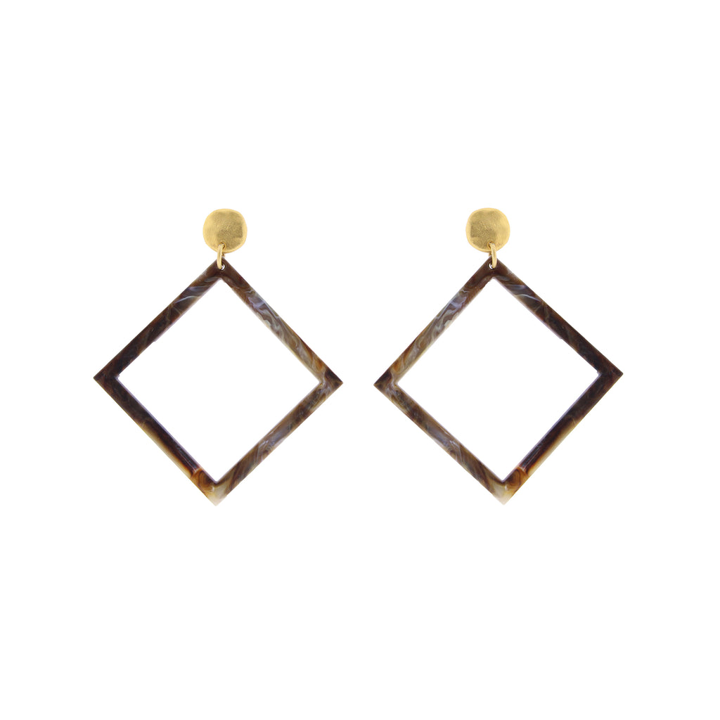 Identity Acrylic Square Earrings Matte Gold and Taupe