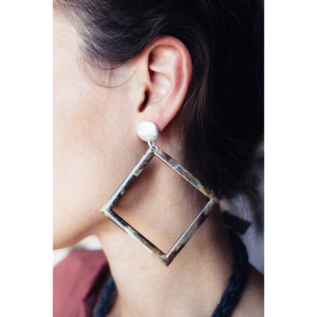 Identity Acrylic Square Earrings Matte Silver and Taupe