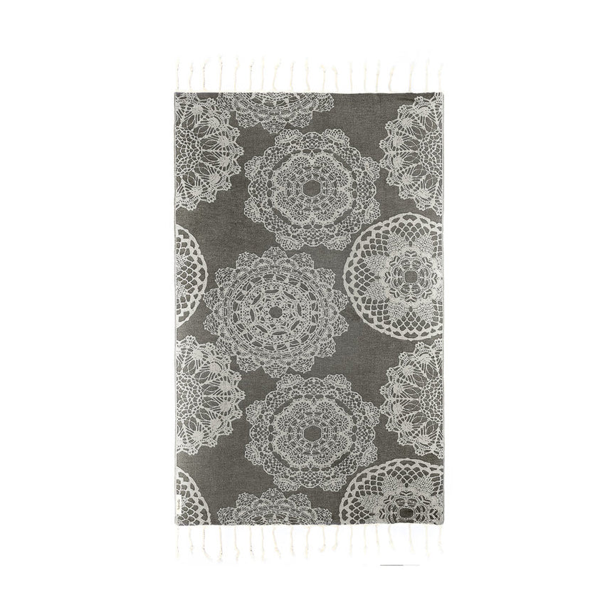 Lace Charcoal Bamboo Towel
