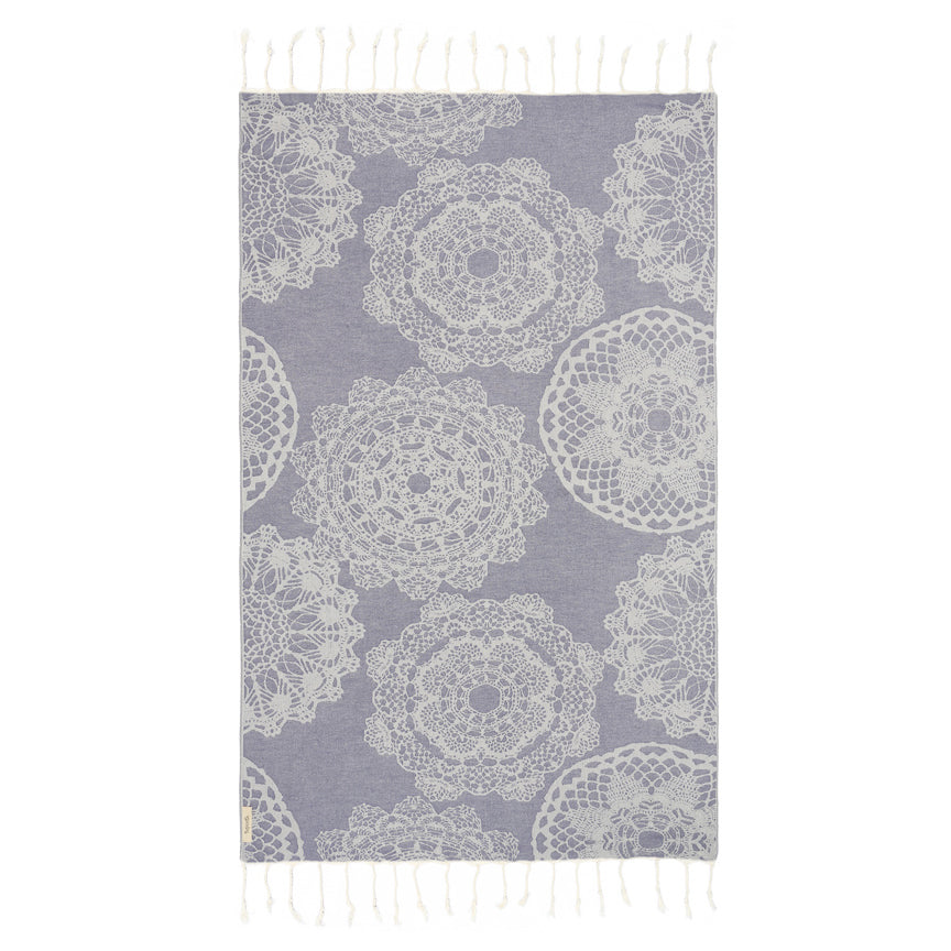 Lace Navy Turkish Towel