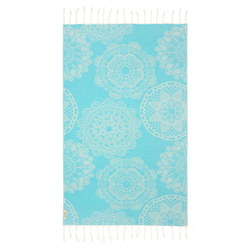 Lace Turquoise Turkish Towel