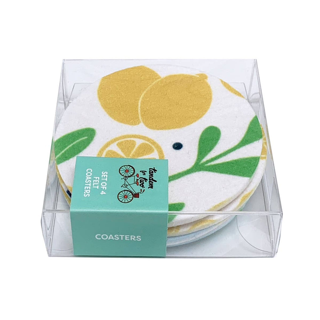 Lemons and Leaves Coasters