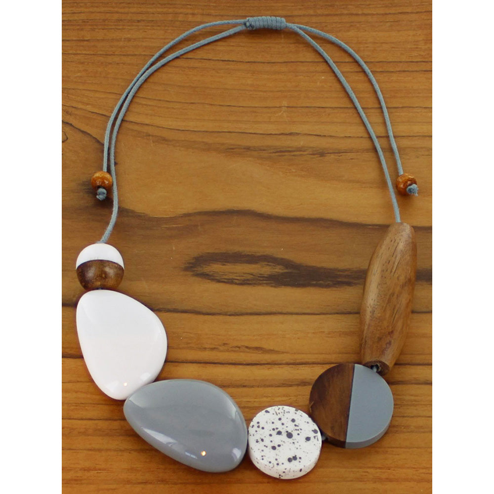 Mixed Shape Wood and Resin Necklace in Grey and White
