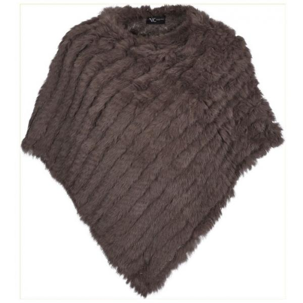 Molly Deluxe Fur Poncho in Mushroom