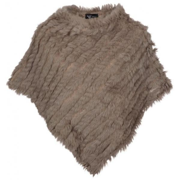 Molly Deluxe Fur Poncho in Taupe