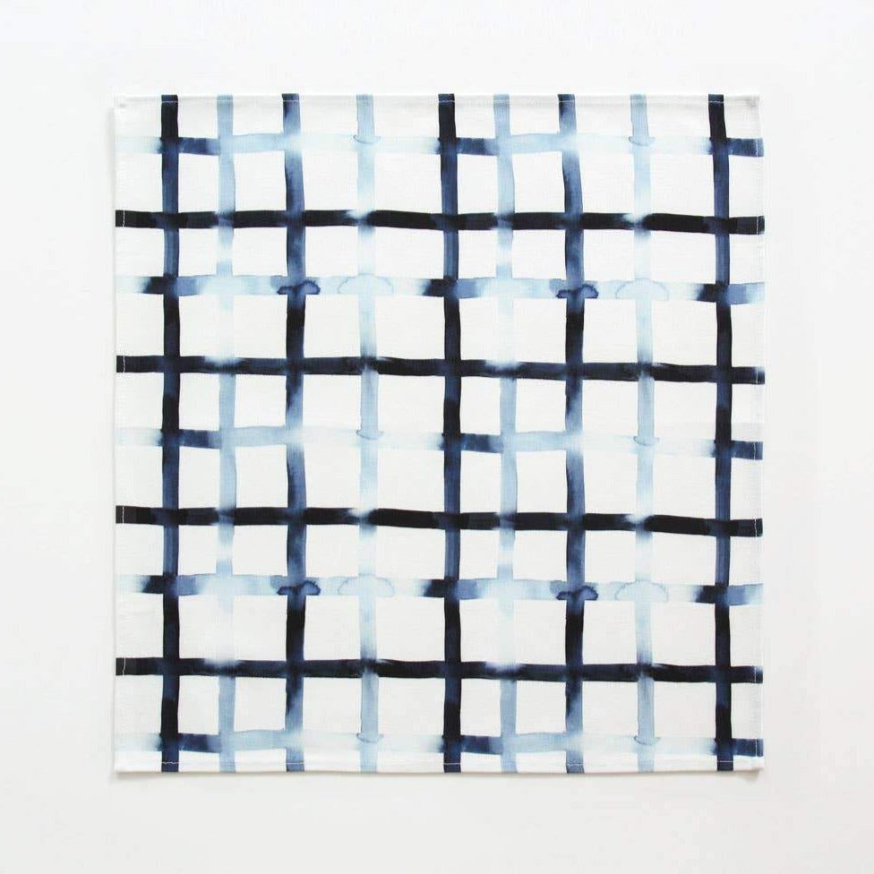 Navy Grid Napkins