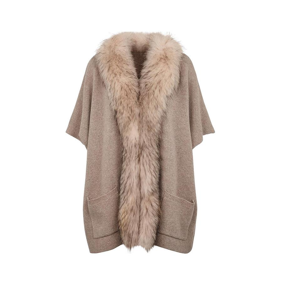 Nina Fur and Knit Poncho in Beige