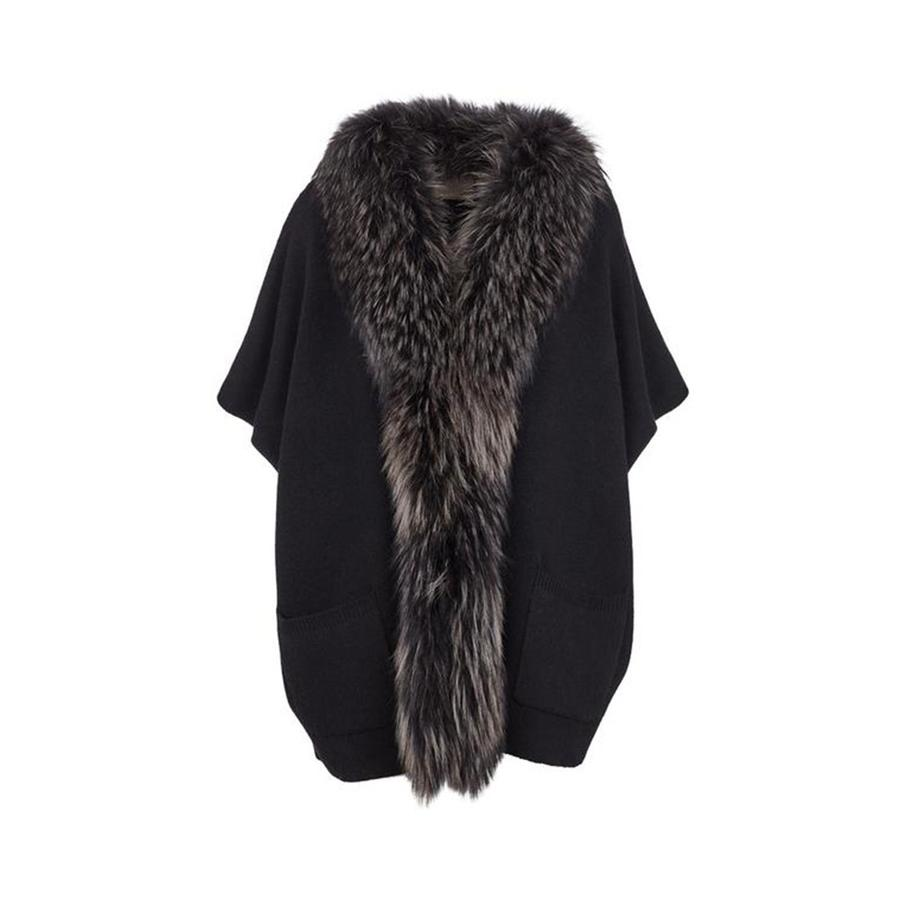 Nina Fur and Knit Poncho in Black