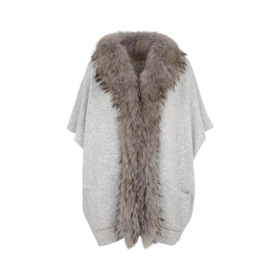 Nina Fur and Knit Poncho in Light Grey