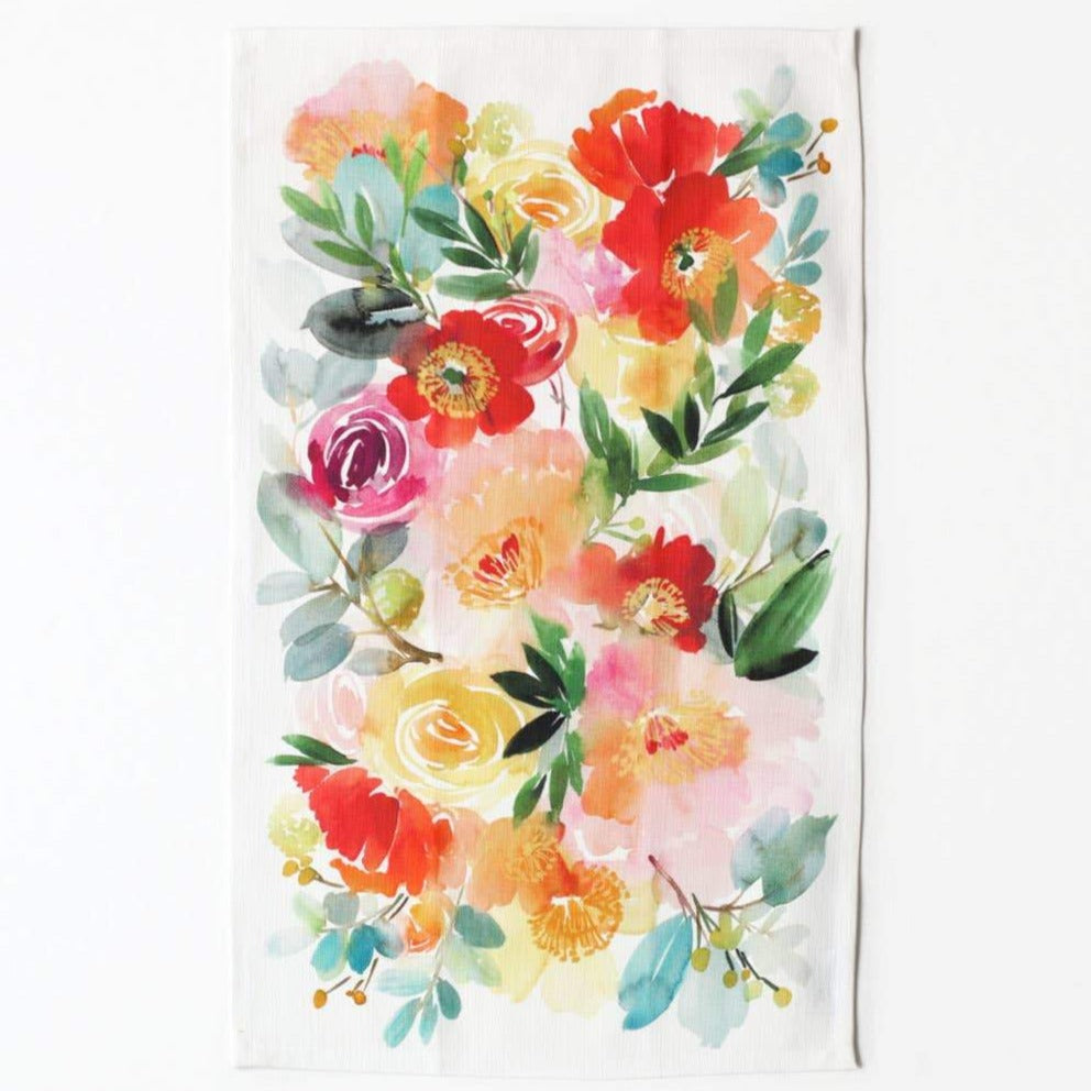 Peonies and Poppies Alike Tea Towel