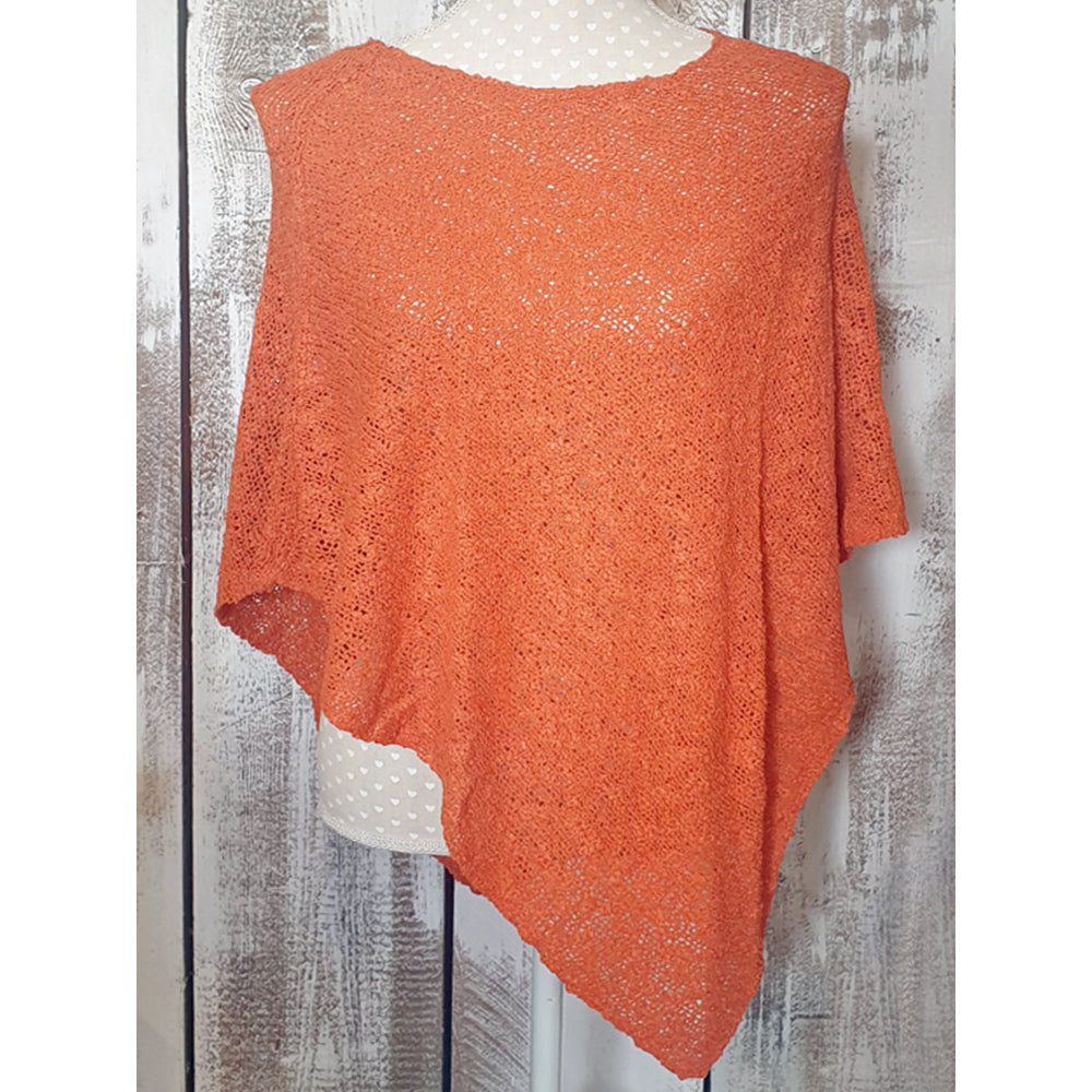 Double Knit Popcorn Poncho Pumpkin Burnt Orange