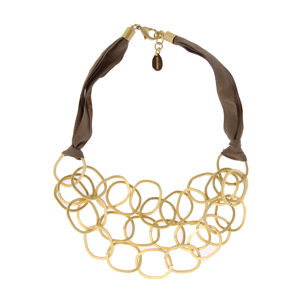 Rosanna de la Riva Roma Ribbon Necklace Taupe and Gold