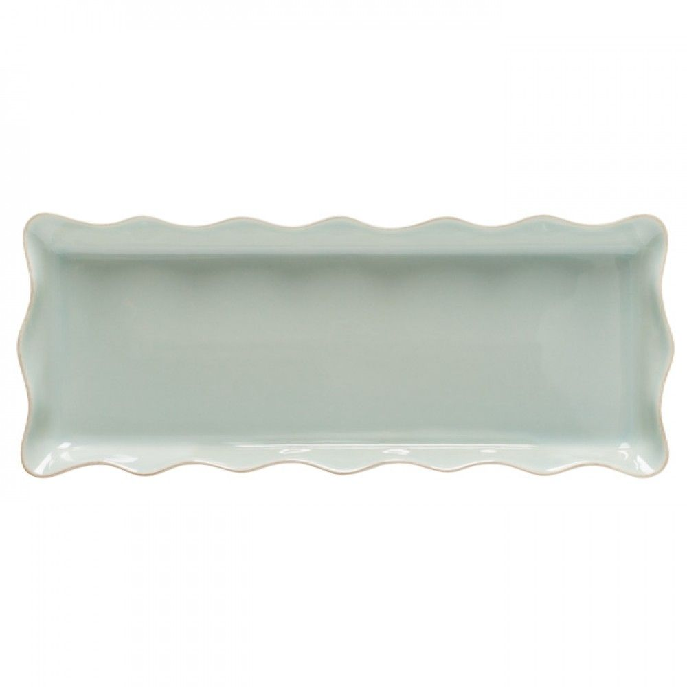 Casafina Rectangular Ruffled Tray in Robins Egg Blue