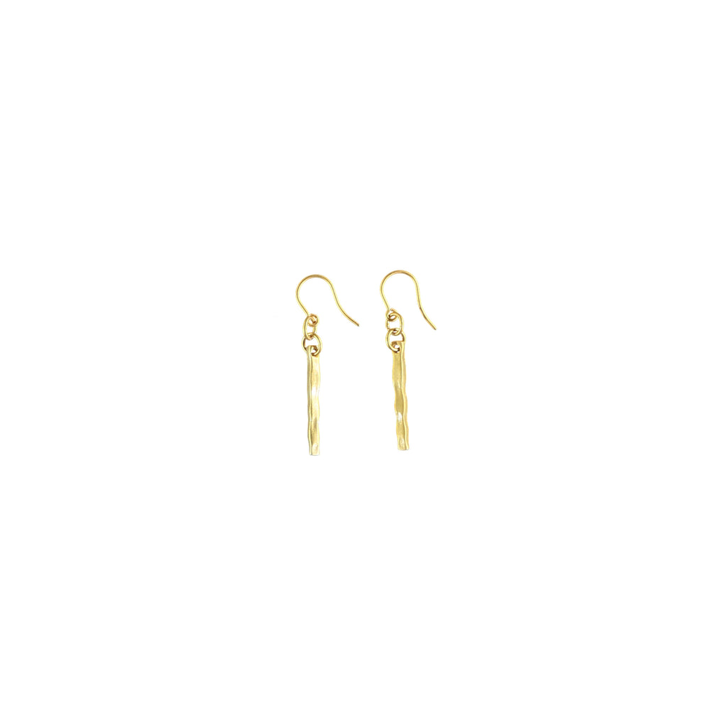 Essential Straight Drop Earrings Matte Gold