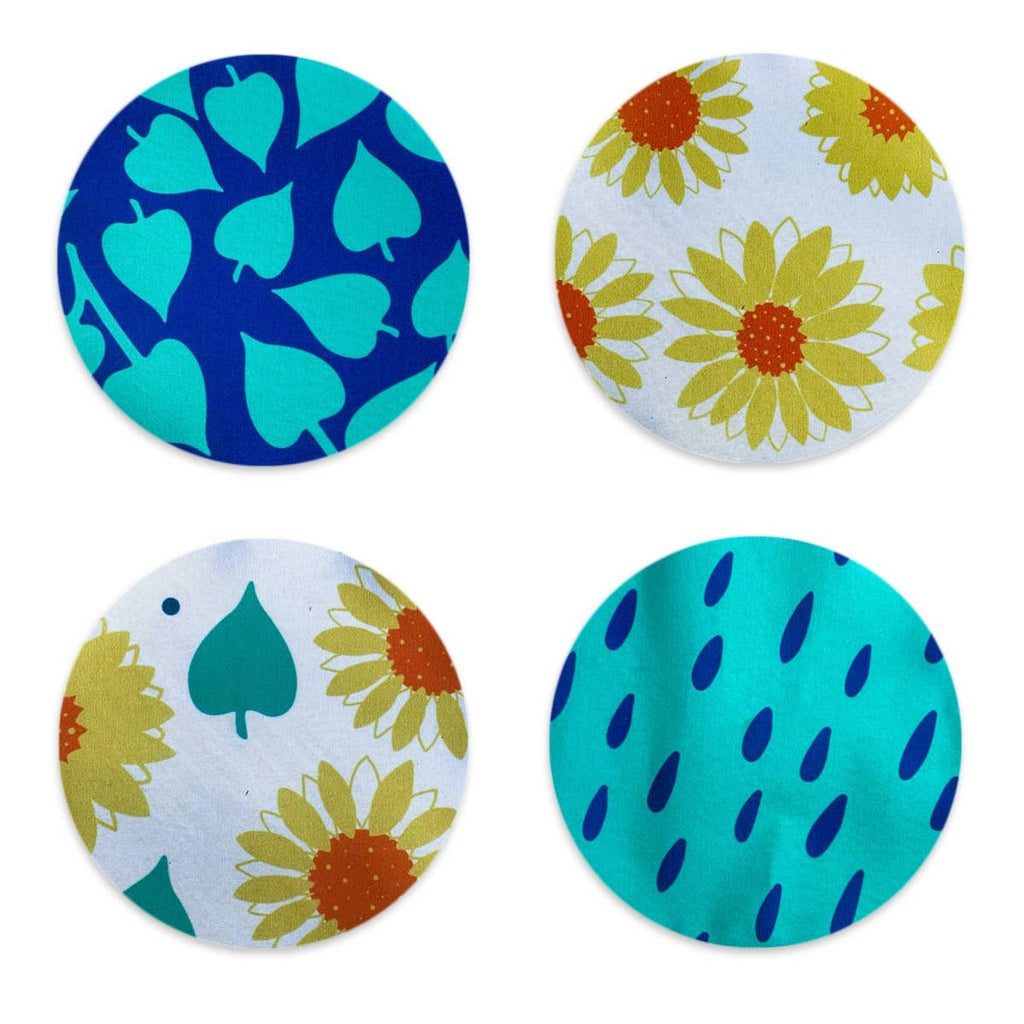 Sunflowers and Leaves Coaster Set