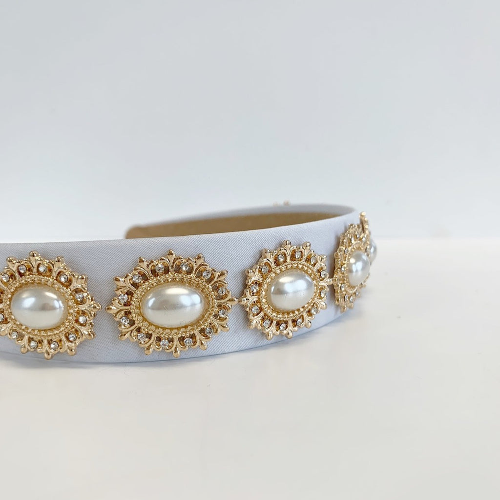 Regal Pearl Crown Headband