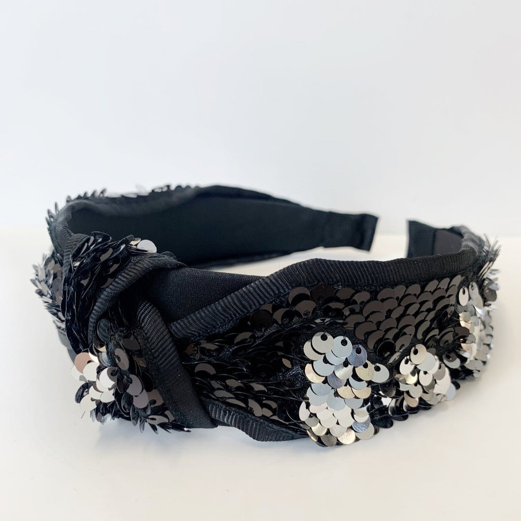 Sequin Knotted Satin Headband