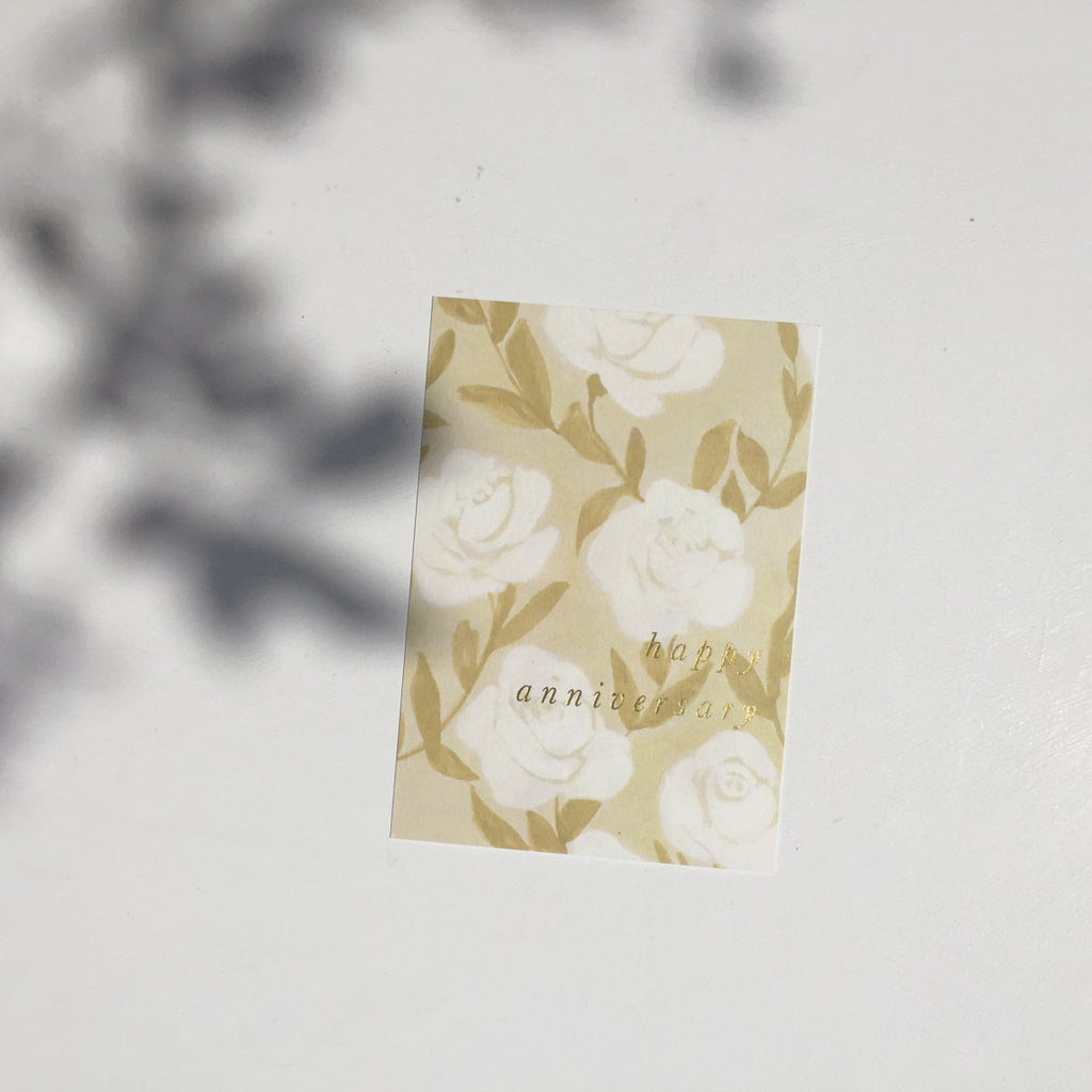 White Rose Happy Anniversary Card