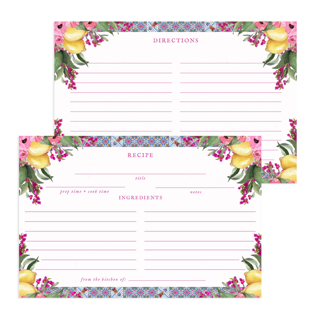 Watercolor Amalfi Kitchen Spanish Tile Recipe Cards