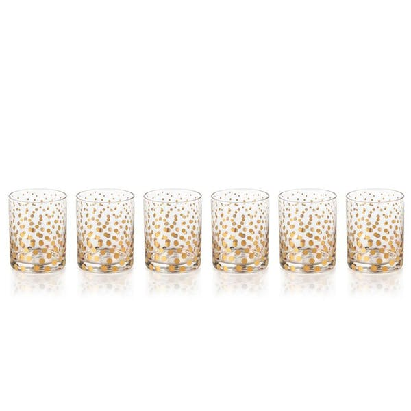 Gold Polka Dot Old Fashion Glasses