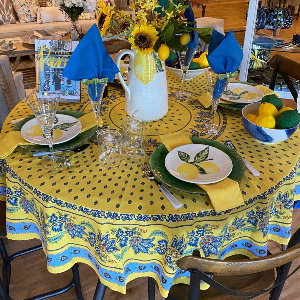 Lisa Round Tablecloth Yellow
