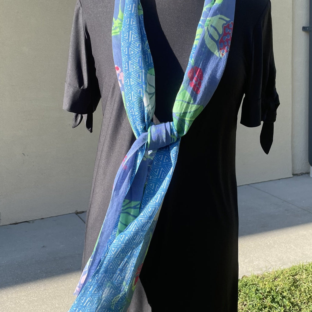 Agnes Scarf in Blues and Green