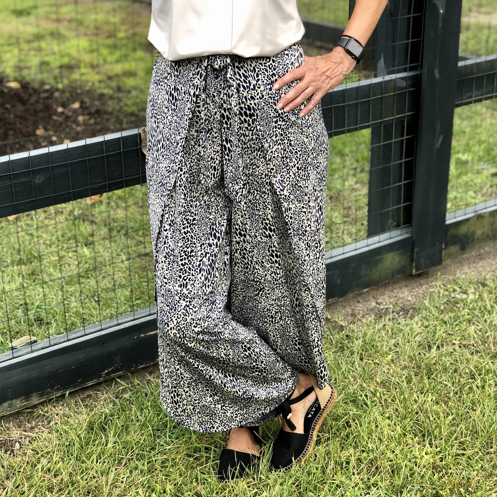 Wrap Front Pant Navy Lynx La Mer Luxe