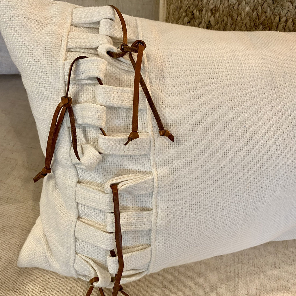Oyster Linen Pillow with Knots