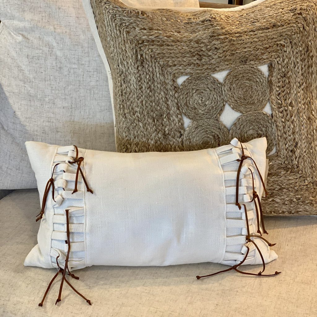 Oyster Linen Pillow withLeather  Knots