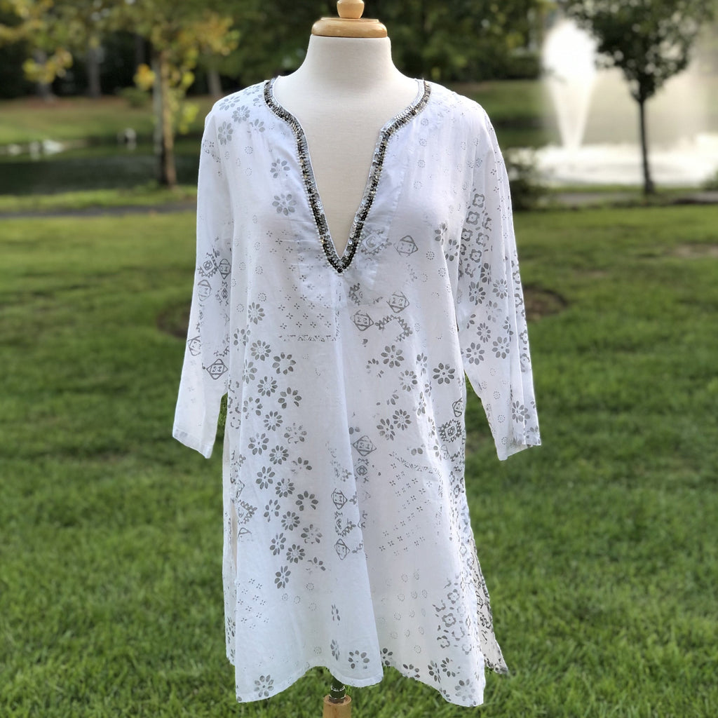Zoey Tunic White and Silver