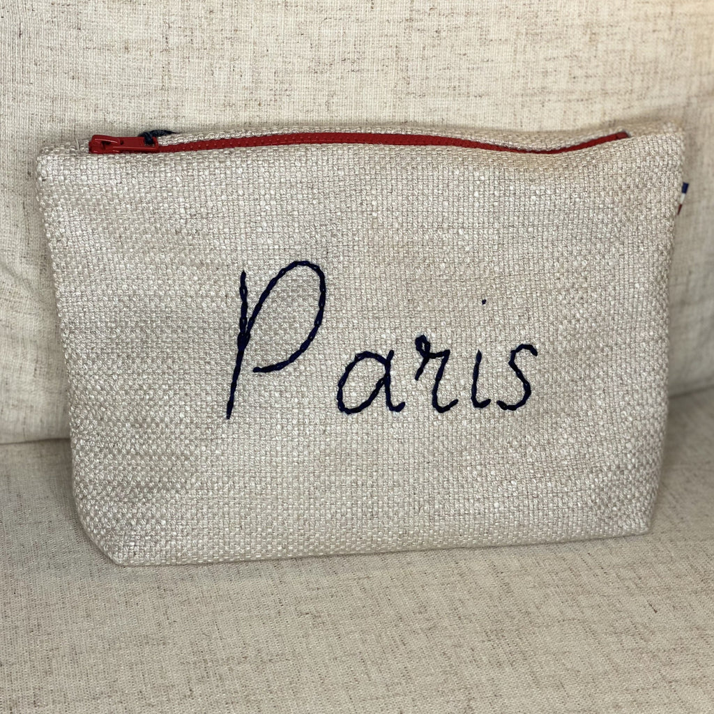 Linen Paris Cosmetic Pouch in Cream with Navy