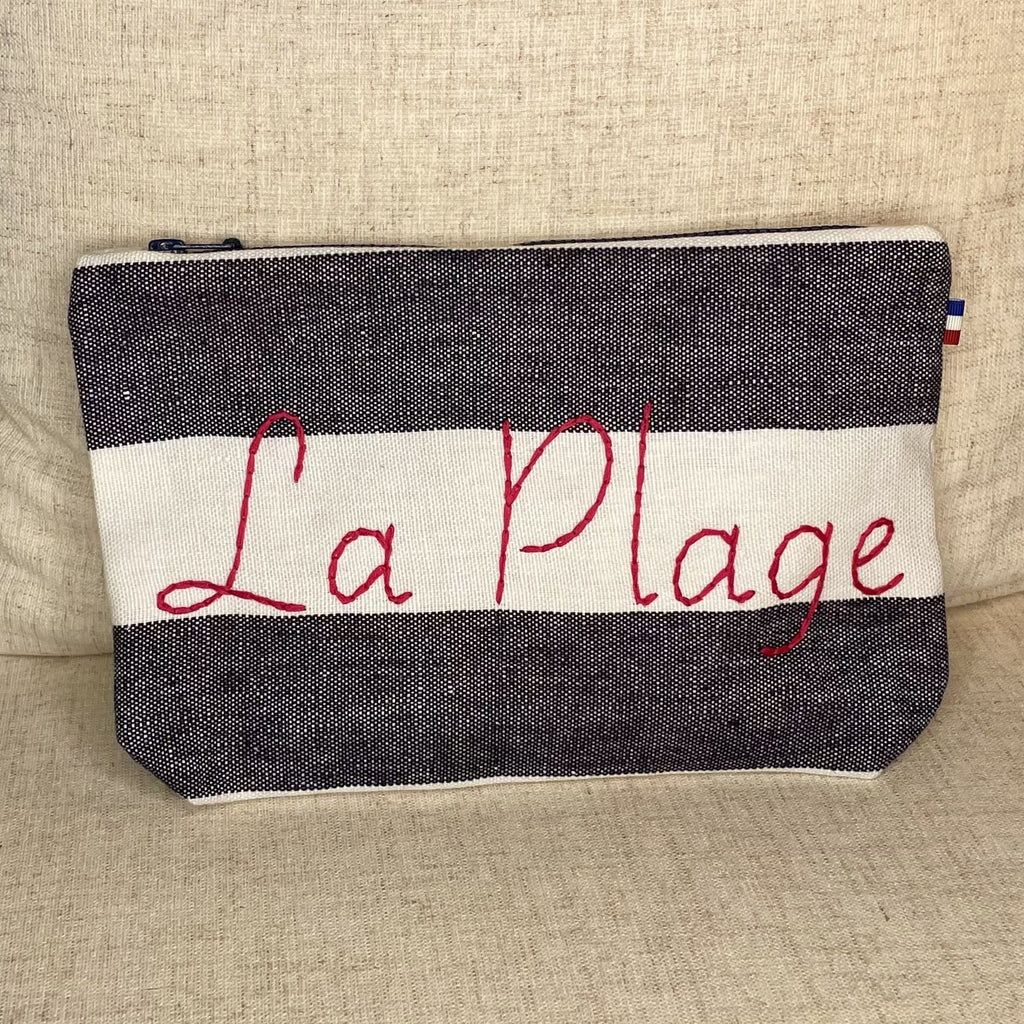Linen Paris Cosmetic Pouch Striped Navy and White with Fuchsia
