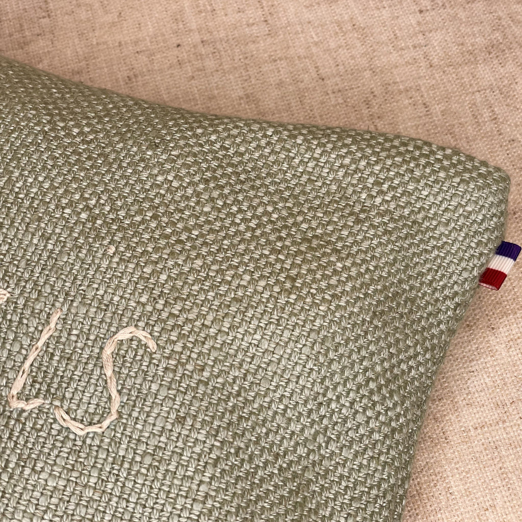 Linen Paris Cosmetic Pouch in Sage Green with Cream