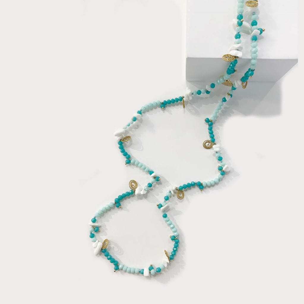 Kaitlyn Turquoise White Jade Necklace