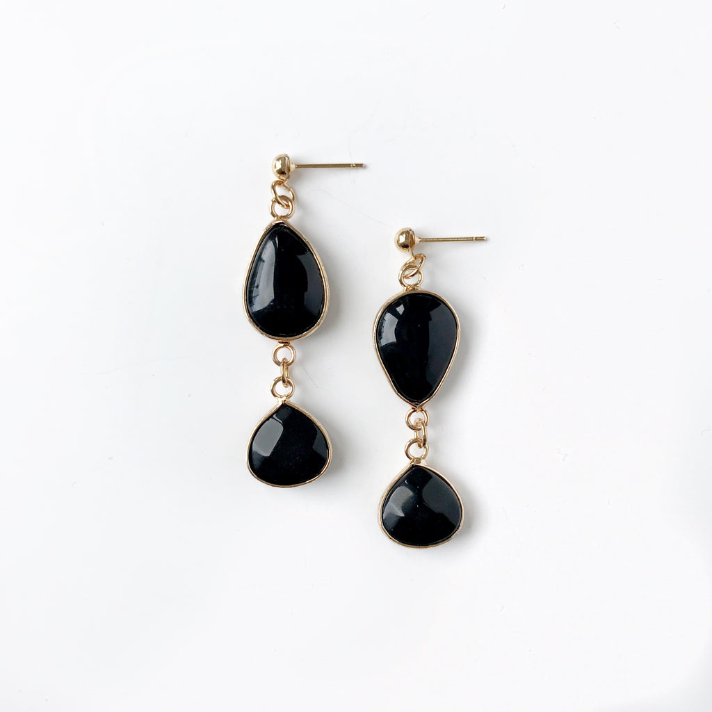 Powers Black Agate Earrings