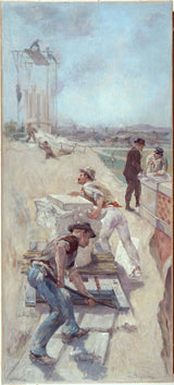 emile-henri-blanchon-1890-sketch-for-lobau-gallery-of-the-city-hotel-of-paris-works-for-creation-of-a-square-art-print-fine-art-reproduction- art mural