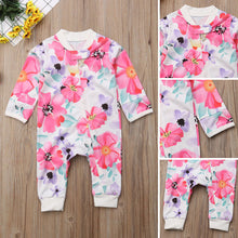 Load image into Gallery viewer, Girl Jumpsuits 0-24M US Flower Newborn Baby Girl Zipper Cotton Romper Jumpsuit Autumn