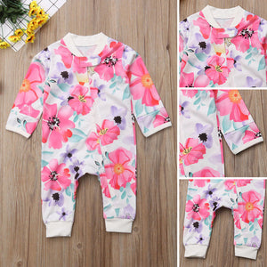 Girl Jumpsuits 0-24M US Flower Newborn Baby Girl Zipper Cotton Romper Jumpsuit Autumn