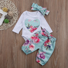 Load image into Gallery viewer, Girl Clothes 3pcs Cotton Newborn Kid Baby Girl Floral Clothes Jumpsuit  Bodysuit Pants Outfits