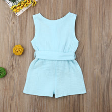 Load image into Gallery viewer, Summer Baby Girl Clothes Sleeveless Solid Color Cotton Bowknot Button Romper Jumpsuit One-Piece Outfit