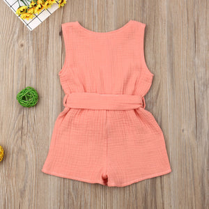 Summer Baby Girl Clothes Sleeveless Solid Color Cotton Bowknot Button Romper Jumpsuit One-Piece Outfit
